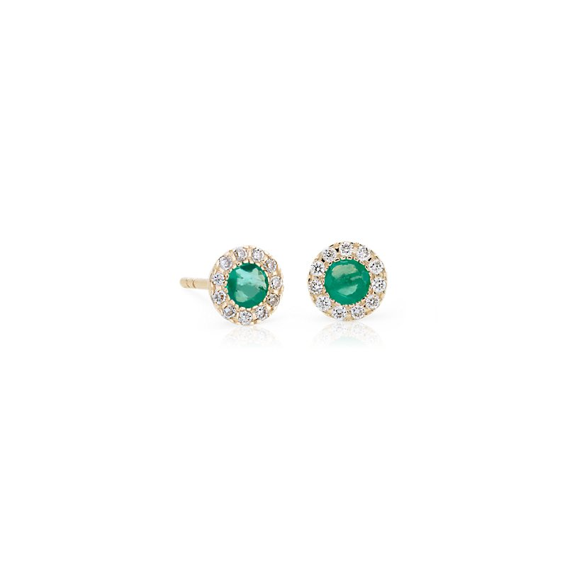 Petite Emerald and Diamond Halo Crown Stud Earrings in 14k Yellow