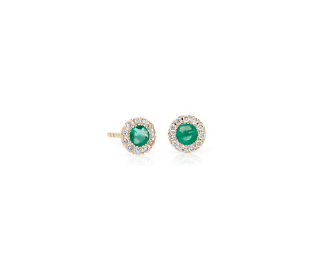 Emerald and Diamond Halo Crown Stud Earrings in 14k Yellow Gold (3.5mm)