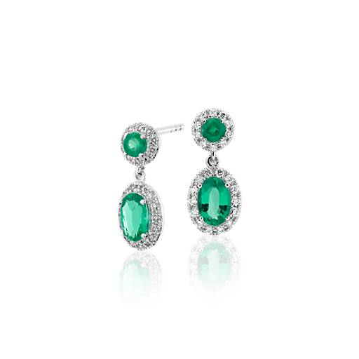 emerald and halo drop earrings in 14k white gold