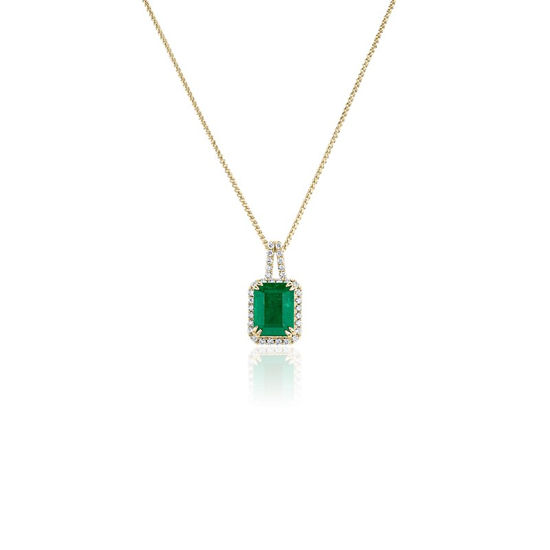 Emerald and Diamond Halo Drop Pendant in 14k Yellow Gold
