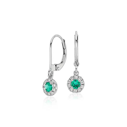 emerald and drop earrings in 14k white gold 3mm