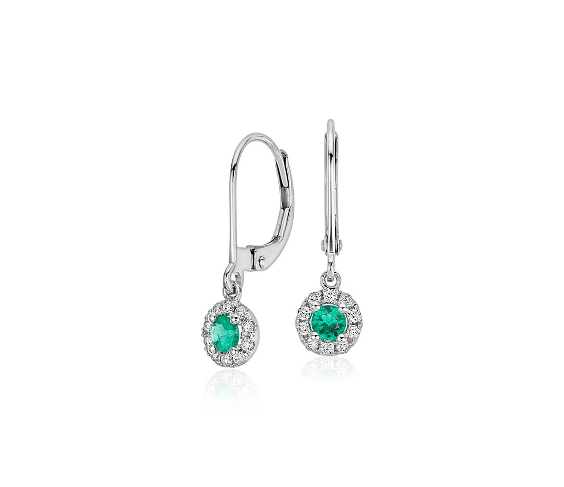 Emerald And Diamond Drop Earrings In 14k White Gold 3mm