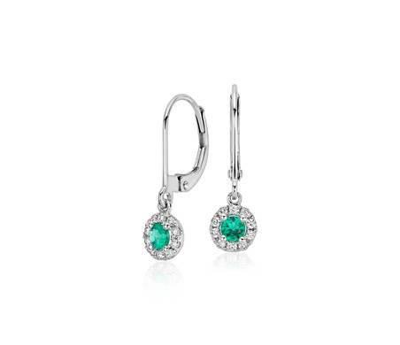 Emerald and Diamond Drop Earrings in 14k White Gold (3mm)