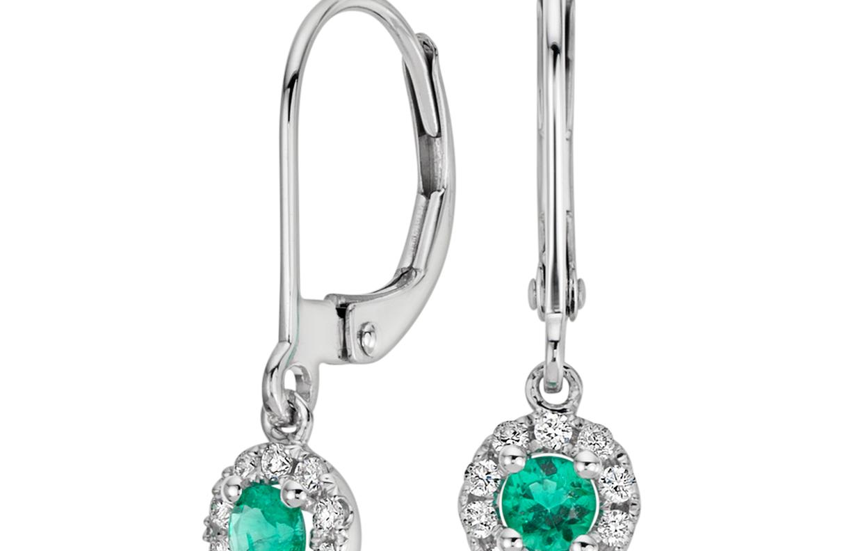 Pendants d'oreilles diamant et émeraude en or blanc 14carats (3mm)