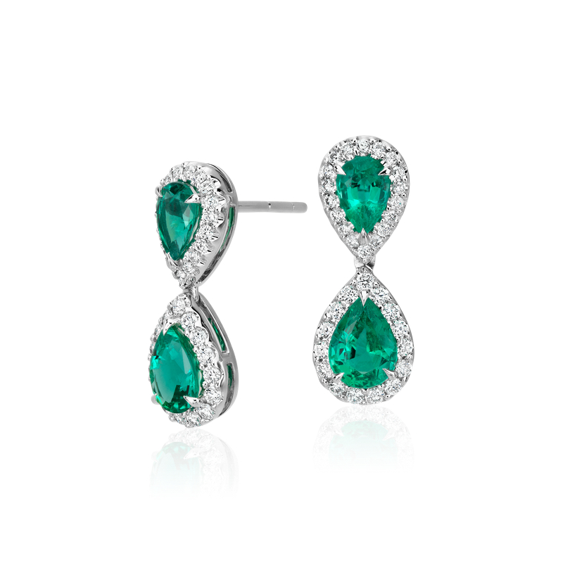 Emerald and Diamond Classic Drop Earrings in 18k White Gold (7x5m