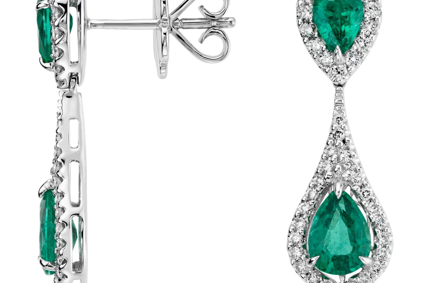 Boucles d'oreilles diamant serti pavé Halo et émeraude Goutte de rosée en or blanc 18carats (7x5mm)