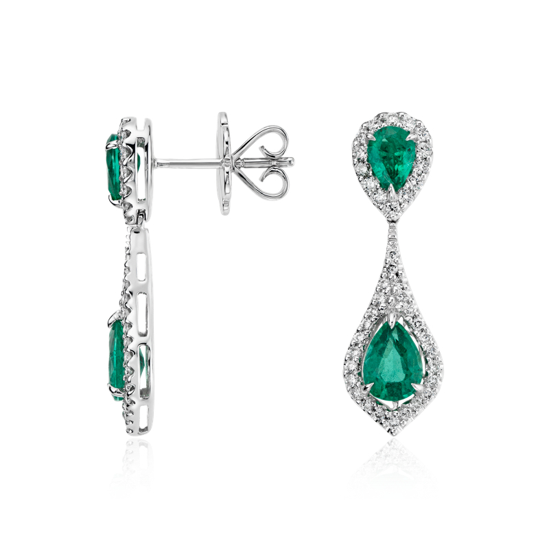 Pear-Shaped Emerald and Diamond Dew Drop Earrings in 18k White Go