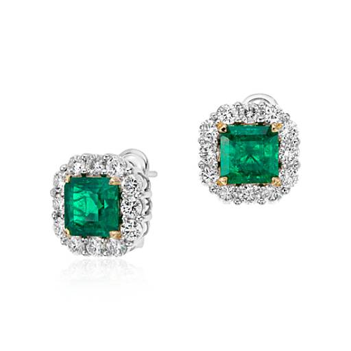 square cut emerald and classic halo earrings in