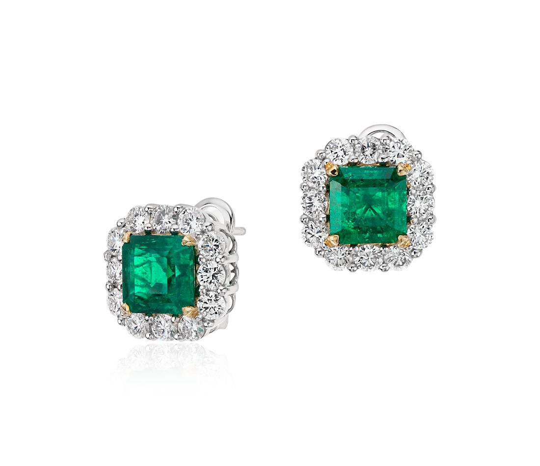 Square Cut Emerald and Diamond Classic Halo Earrings in Platinum