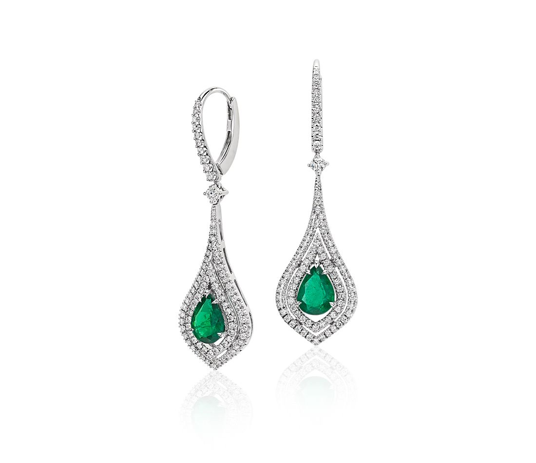 Pear Shape Emerald Double Halo Diamond Drop Earrings In 18k White Gold 8x6mm