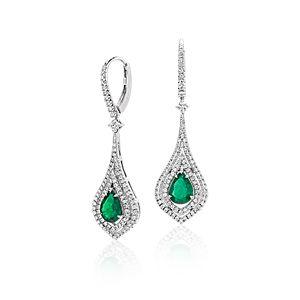 Pear Shape Emerald Double Halo Diamond Drop Earrings in 18k White Gold (8x6mm)