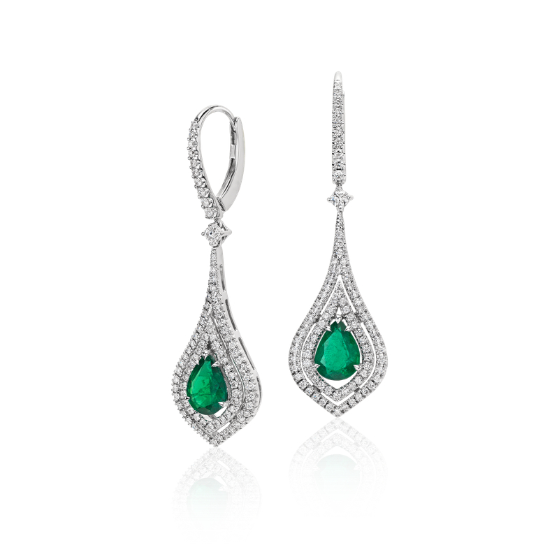 Pear Shape Emerald Double Halo Diamond Drop Earrings in 18k White