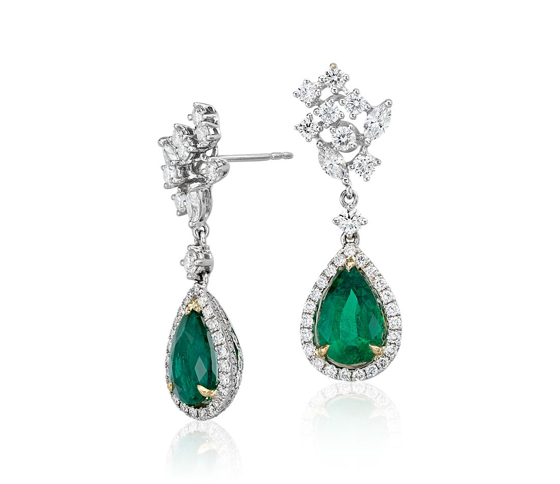 Pear Shape Emerald and Diamond Halo Drop Earrings in 18k White and Yellow Gold (3.40 ct. tw. center)