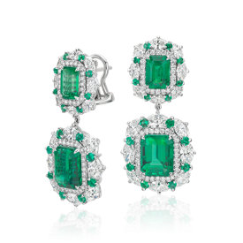 Emerald and Diamond Halo Drop Earrings in 18k White Gold (6.62 ct. tw.)