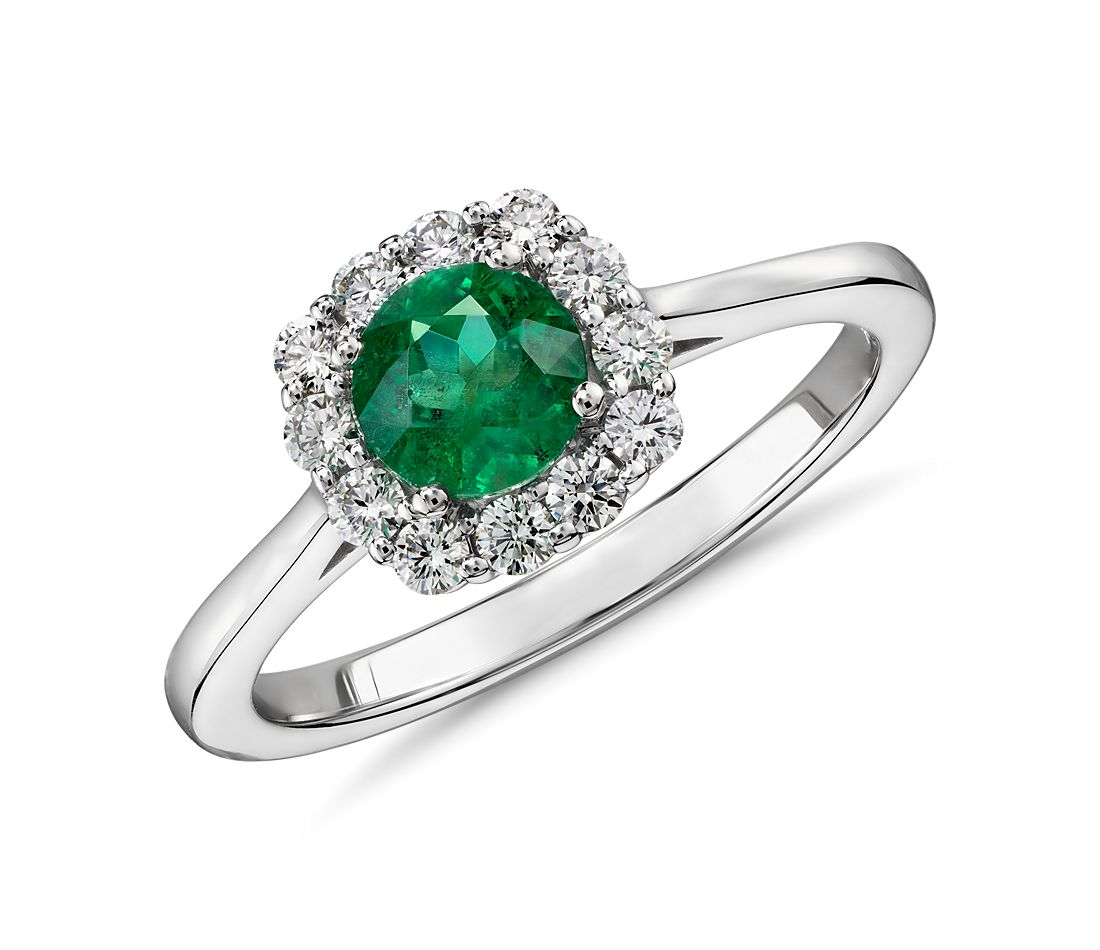 Emerald and Diamond Halo Ring in 14k White Gold (5mm)