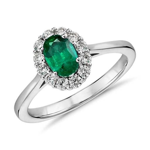 Emerald And Diamond Halo Ring In 14k White Gold (6x4mm
