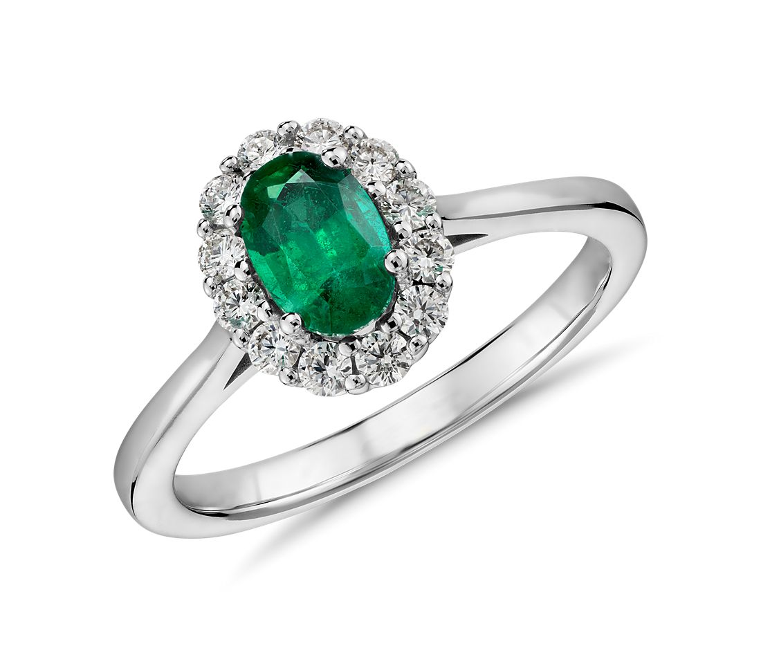 Emerald and Diamond Halo Ring in 14k White Gold 6x4mm