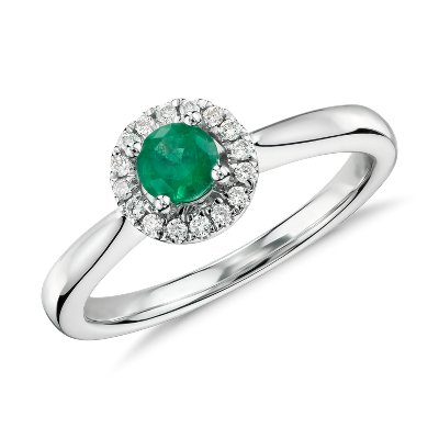 Petite Round Emerald and Diamond Pav Halo Ring in 14k White Gold