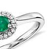 Petite Round Emerald and Diamond Pavé Halo Ring in 14k White Gold (4mm)