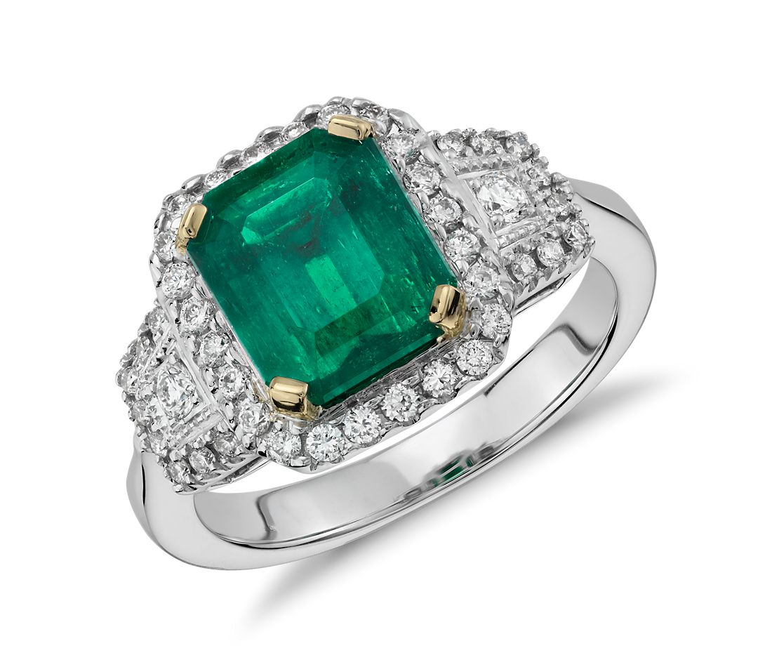 Emerald And Diamond Halo Three Stone Ring In 18k White