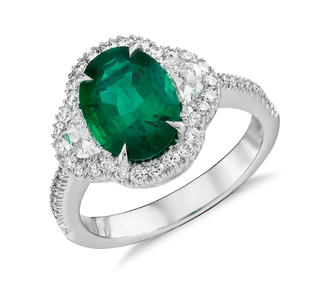 Emerald and Diamond Halo Ring in 18k White Gold (2.01 ct. centre)