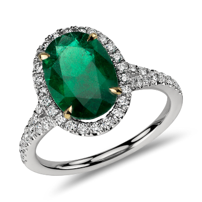 Oval Emerald and Diamond Halo Ring in Platinum 301 cts Blue Nile