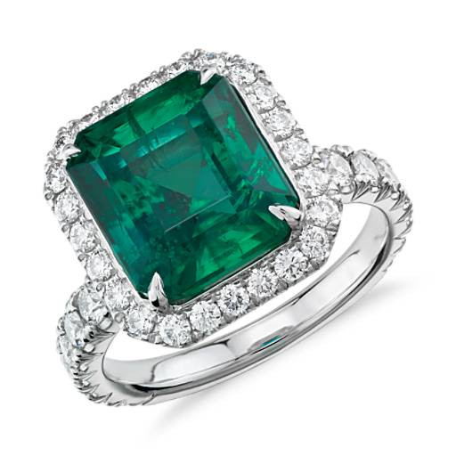 Emerald And Diamond Halo Ring In Platinum (4.72 Ct. Center