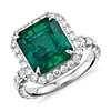 Emerald and Diamond Halo Ring in Platinum (4.72 ct. center)