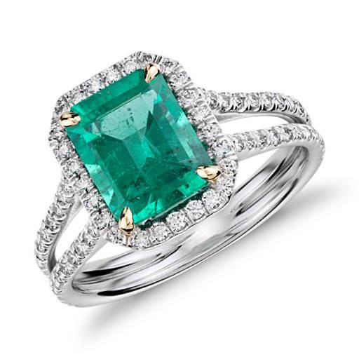 Emerald And Diamond Halo Split Shank Ring In 18k White