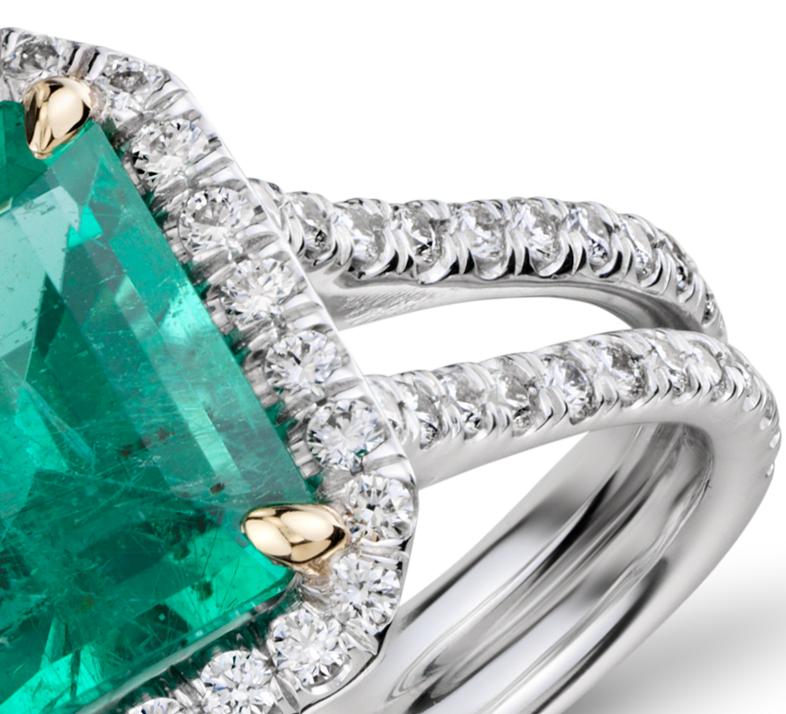 Emerald and Diamond Halo Split Shank Ring in 18k White Gold )