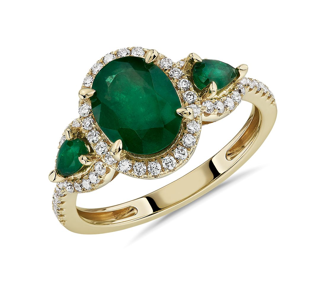 Emerald and Diamond Halo Three-Stone Ring in 14k Yellow Gold
