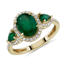 NEW Emerald and Diamond Halo Three-Stone Ring in 14k Yellow Gold