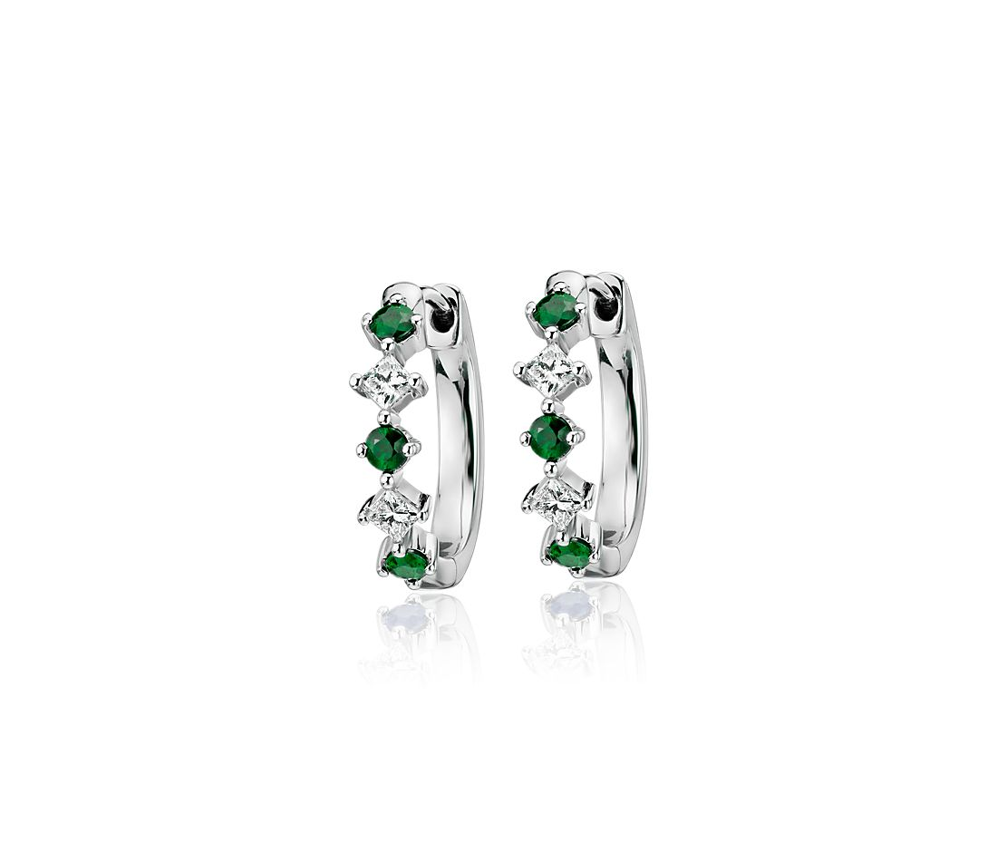 Emerald and Diamond Huggie Hoop Earrings in 14k White Gold (2.2mm)