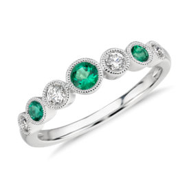 Emerald and Diamond Milgrain Ring in 14k White Gold