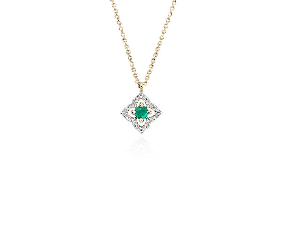 Petite Emerald Floral Pendant Necklace in 14k Yellow Gold (2.8mm)