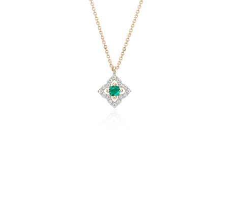 Petite Emerald and Diamond Floral Pendant in 14k Yellow Gold (2.8mm)