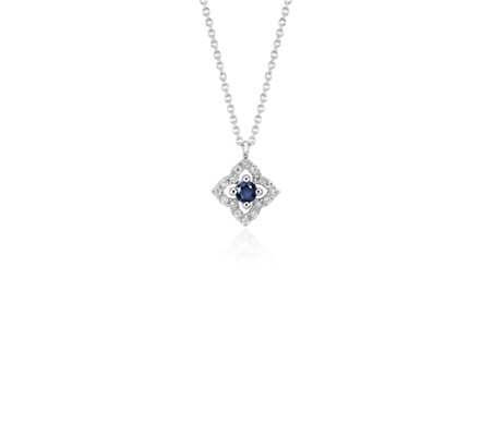 Petite Sapphire and Diamond Floral Pendant in 14k White Gold (2.8mm)