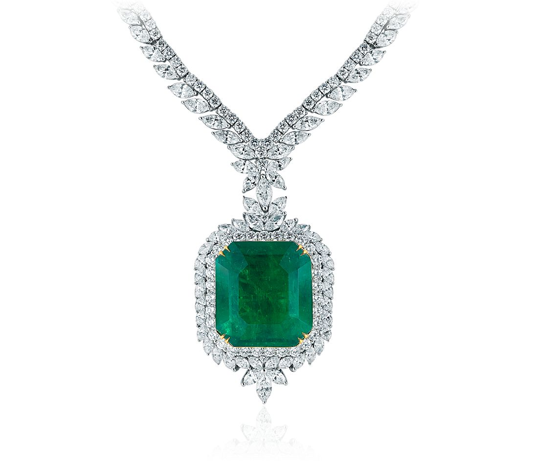 Emerald and Pavé  Diamond Necklace in 18k White Gold (73.01 ct. center)