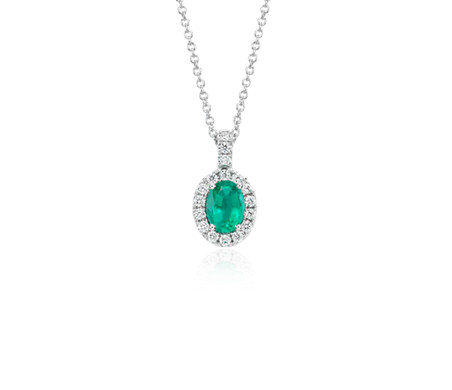 Oval emerald and pav diamond pendant in 18k white gold 7x5mm oval emerald and pav diamond pendant in 18k white gold 7x5mm aloadofball Image collections