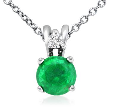Colgante con diamante solitario y esmeralda en oro blanco de 18 k (5mm)