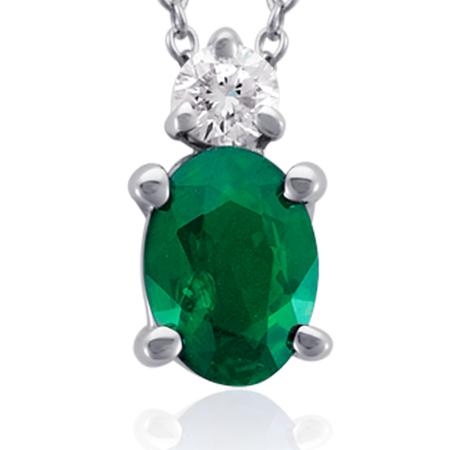 Colgante de diamantes y esmeralda ovalada Oro blanco de 18 k (7x5mm)