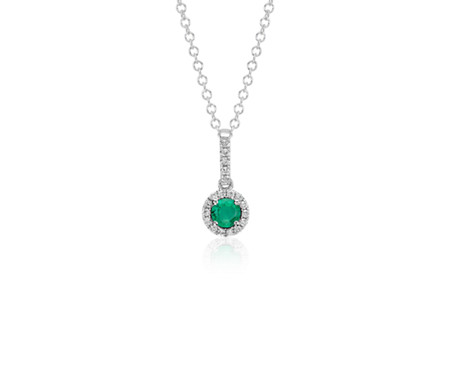 14k 白金 綠寶石和鑽石垂式吊墜<br>( 4毫米)