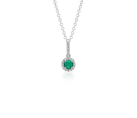 Emerald and Diamond Drop Pendant in 14k White Gold (4mm)