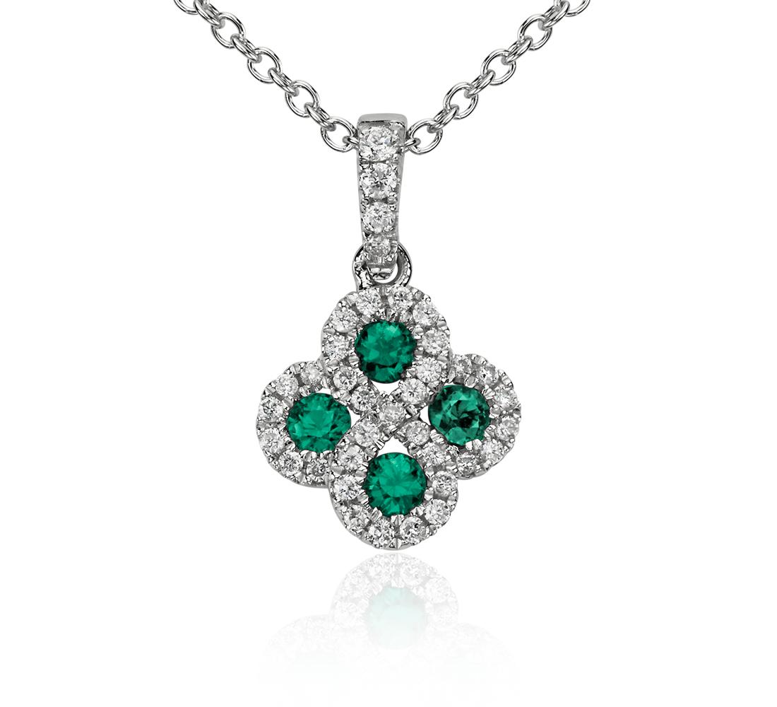Colgante de diamante y esmeralda en oro blanco de 14 k (2mm)