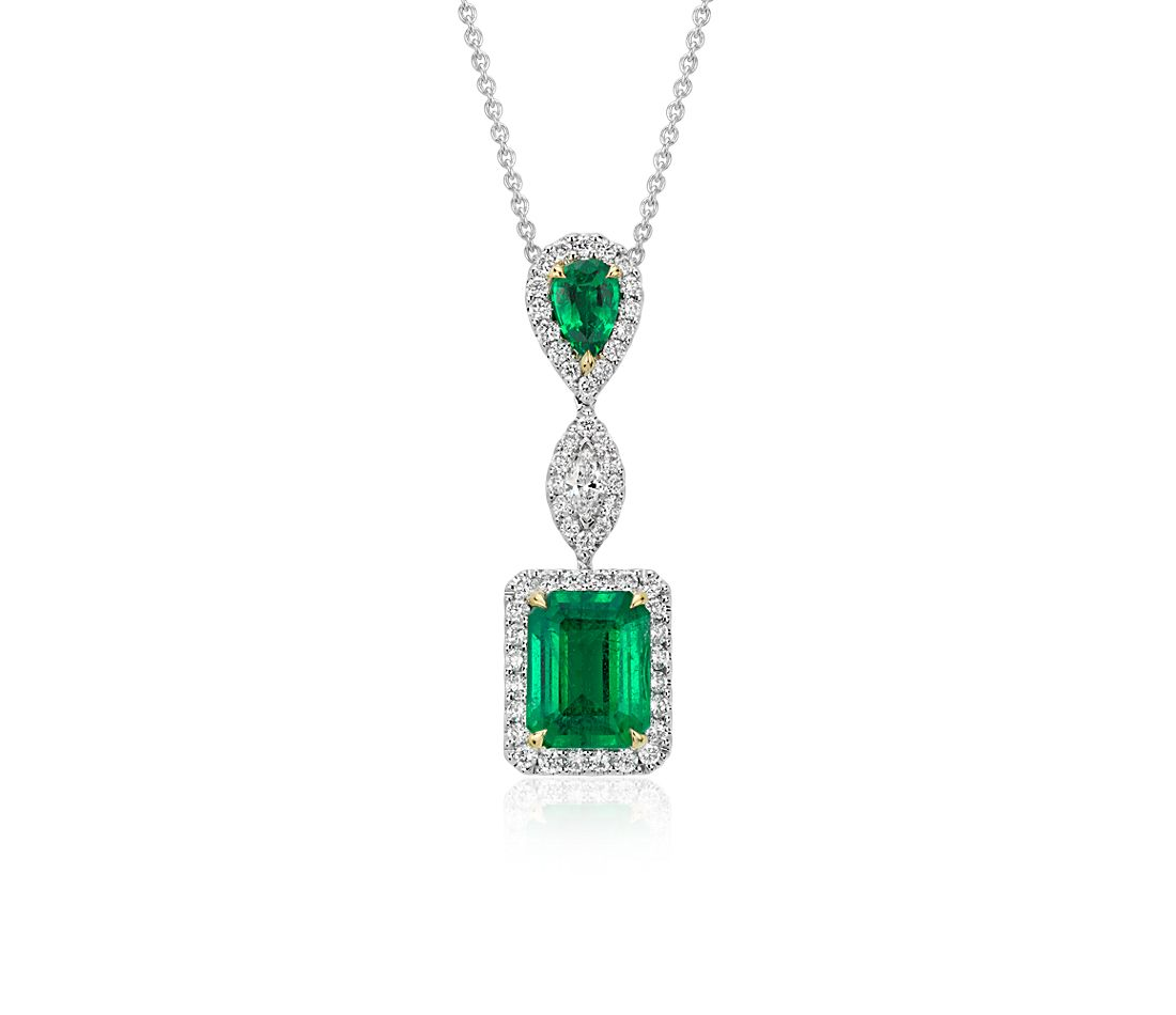 Emerald and Diamond Drop Pendant in 18k White Gold