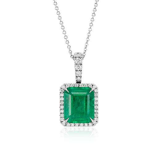 emerald and diamond pav233 halo pendant necklace in 18k