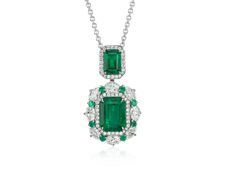 p white necklace m pendant and gold emerald diamond