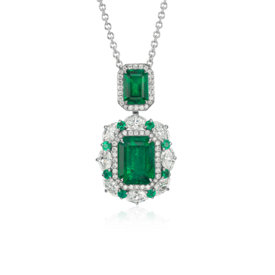 Emerald and Diamond Drop Pendant in 18k White Gold (4.50 ct. tw.)