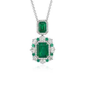 Colgante de diamante y esmeralda en oro blanco de 18 k (4,50 qt. total)