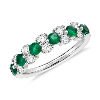 Emerald and Diamond Garland Ring in 18k White Gold 12 ct tw